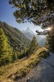 Famous Matterhorn peak against sunset in Zermatt area, Switzerland - 230580561