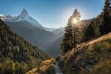 Famous Matterhorn peak against sunset in Zermatt area, Switzerland - 230580996