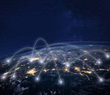 network connection technology, global business communication, planet image from NASA - 230581323