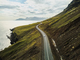 car driving on beautiful road, travel background, aerial scenic landscape from Iceland - 230581346