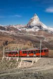 Famous Matterhorn peak with Gornergrat train in Zermatt area, Switzerland - 230581353