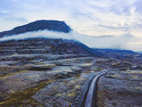 beautiful scenic road in mountain landscape, travel to fjords in Iceland, roadtrip - 230581357