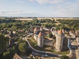 Castle Blandy les tours in France, aerial view of medieval chateau museum - 230581364