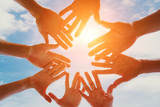 global community of people, support, group of volunteers gathering hands together - 230581545