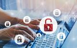 hacker attack and data breach, information leak concept, futuristic cyber  background with broken lock - 230581579