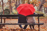love, happy elderly couple in love, retired people enjoying romantic moment in autumn park, fall season - 230581731
