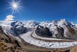 Swiss Alps with glaciers against blue sky, Zermatt area, Switzerland - 230581912