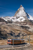 Famous Matterhorn peak with Gornergrat train in Zermatt area, Switzerland - 230582101
