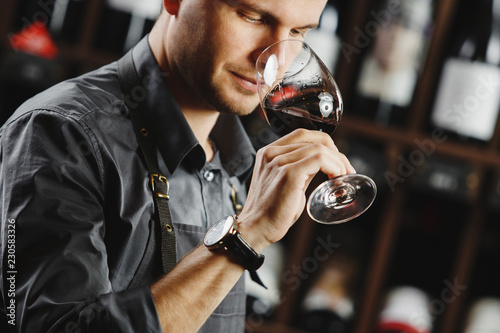 Bokal of red wine on background, male sommelier appreciating drink - 230583326