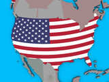 United States with embedded national flag on blue political 3D globe.