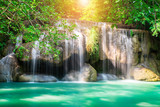 Erawan waterfall at tropical forest of national park, Thailand