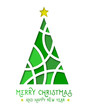 Abstract green christmas tree in paper cut design. Merry Christmas concept.