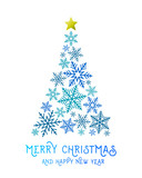 Christmas tree made of blue snowflakes with golden star on top of it. Abstract Merry Christmas and Happy New Year greeting card design.