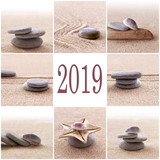 2019, zen sand and stones greeting card - 230589985