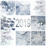 2019, silver christmas ornaments collage square greeting card - 230590307