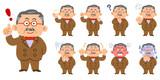 蝶ネクタイとスーツを身に着けた富裕層の男性 9種類のポーズと表情のセット  - 230595734