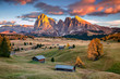 Quadro Dolomites. Landscape image of Seiser Alm a Dolomite plateau and the largest high-altitude Alpine meadow in Europe.