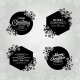 Merry christmas and happy new year frame with snowflakes - 230598186