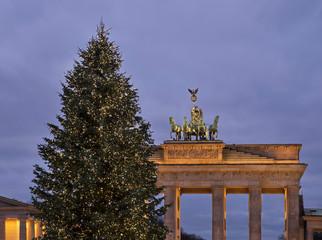 Holiday decorations of Pariser platz in Berlin. Germany