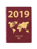 Passport 2019 with a world map on the cover, concept - 230603709