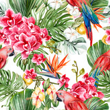 Beautiful watercolor tropical pattern with leaves, flowers,fruits and parrots.  - 230606387