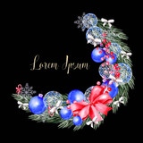 Watercolor Christmas wreath with toys, bow, berries and pine.  - 230606527