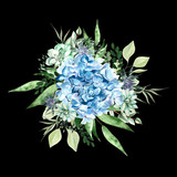 Watercolor bouquet with hydrangea flowers,  succulent plants and leaves.  - 230606728
