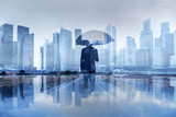 insurance concept, risk in business, businessman with umbrella double exposure - 230617304