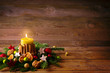 Leinwandbild Motiv Natural Christmas background with burning candle