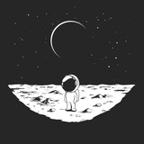 Cute astronaut stands alone on Moon surface. Prints design. Hand drawn vector illustration - 230623983