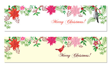 Christmas Banners Set with Christmas Decorations