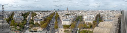 Wide Angle Panorama Downtown Paris Facing La Defense District © porqueno