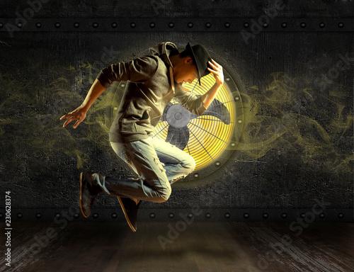 Man break dancing on ventilator background - 230628374