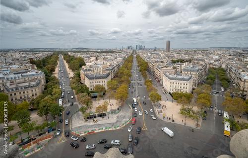 Aerial View of La Defense From Top of the Arch de Triumph © porqueno