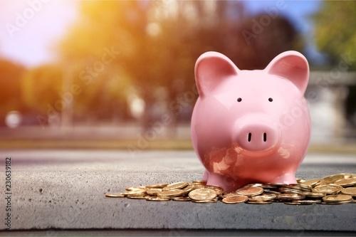 Leinwandbild Motiv Pink piggy bank and coins on background