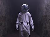 astronaut walking in the dark tunnel - 230642540