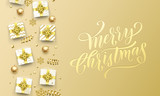 Merry Christmas golden greeting card on premium background. Vector Christmas calligraphy lettering emboss with gifts, snowflakes and gold glitter stars - 230660594