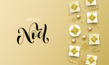 Joyeux Noel Merry Christmas golden greeting card on premium background. Vector Christmas French Noel calligraphy lettering, gifts and gold glitter stars or snowflakes - 230660730