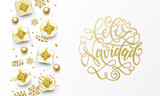 Feliz Navidad Merry Christmas Spanish golden greeting card, gold gifts, stars confetti and snowflakes glitter. Vector Spanish Navidad Christmas hand drawn calligraphy lettering text - 230661148