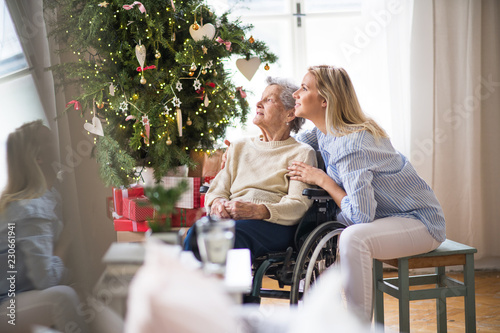 A senior woman in wheelchair with a health visitor at home at Christmas time. - 230661941