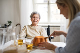 A senior woman in wheelchair with a health visitor sitting at the table at home. - 230662150