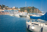 Marina with yachts in Blanes, Costa Brava, Spain. Sail boats in sea port - 230662529