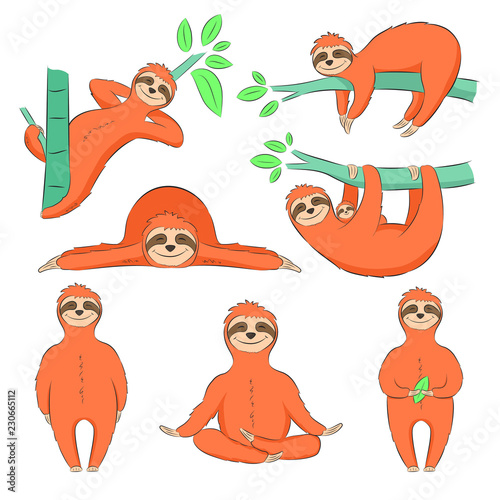 Cute hand drawn sloths set, print on t-shirt, poster and greeting card. Vector illustration