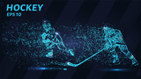 Hockey of blue glowing dots. Hockey players are fighting for the puck. - 230666538