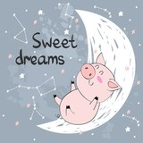 Vector illustration with funny pig and moon. Sweet dreams.