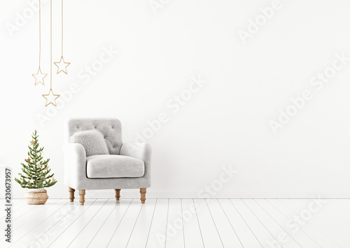 Living room interior wall mock up with grey tufted armchair, fur pillow and decorated christmas tree on empty white background. 3D rendering. © marina_dikh