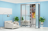 room with an armchair, a lamp, a vase and a wardrobe with sliding doors with a mirror. 3d illustration - 230681309