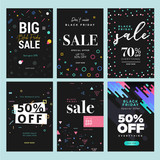 Black Friday sale. Vector illustration concepts of online shopping website and mobile website banners, posters, newsletter designs, ads, coupons, social media banners, marketing material. - 230684968