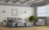 White and gray modern mastern bedroom - 230685926