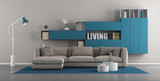 Modern living room with sofa and bookcase - 230685947